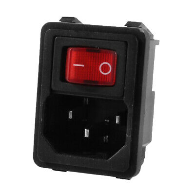 Red Rocker Switch 3P IEC320 C14 Male Connector Power Socket Connector 250V 10A