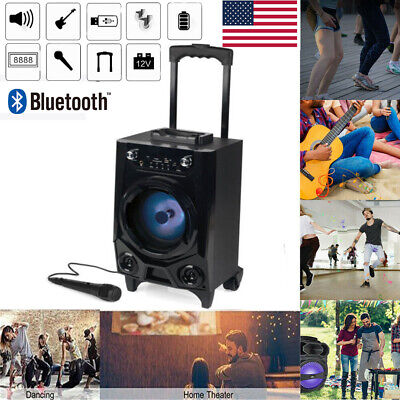 BT Party Speaker System Bluetooth Big Led Portable Stereo Light Up Tailgate Loud