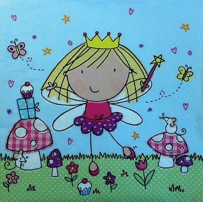 20 x Paper Napkins Pink Princess for Decoupage and Party Lunch Table 29
