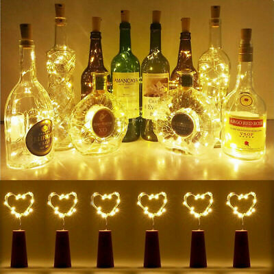 10PCS 2M 20 LED Wine Bottle Fairy String Light Cork Battery Night Xmas Wedding