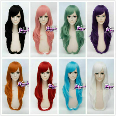 Women 70cm Long Wavy Curly Hair Synthetic Daily Party Cosplay Full Wigs + Cap