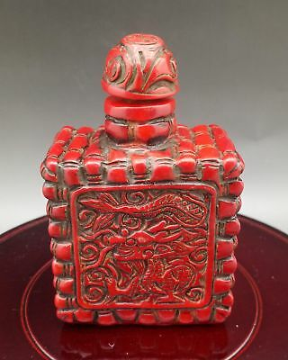 Chinese Exquisite Red Coral Hand Carved Dragon pattern Snuff Bottle    L910