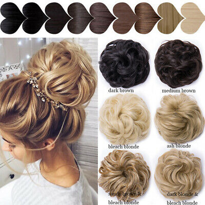 THICK Curly Scrunchie Messy Bun Updo Chignon Clip in Lady Hair Piece Extensions