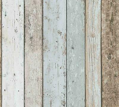 A.S Creation 3D Effect Wood Panel Plank Wallpaper Distressed Cream Blue Brown