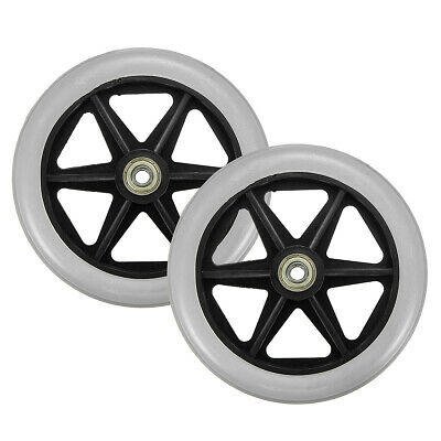 """2 PCS 6 inch Wheelchair Replacement Wheel Front Rear Caster PVC Durable 5/16"""""""