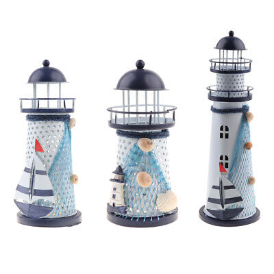 3Pieces of Home Desk Tabletop Nautical Beach Iron Lighthouse Ornaments