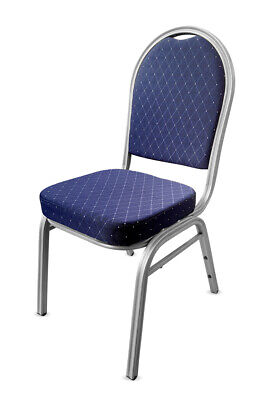Blue Metal Banqueting Chairs. Silver. Round Back Stacking Steel Church Marquee