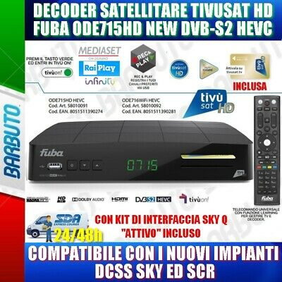 Decoder Tivusat Hd Fuba Ode715Hd Con Kit Sky Q Interface Attivo, Dcss, Pvr