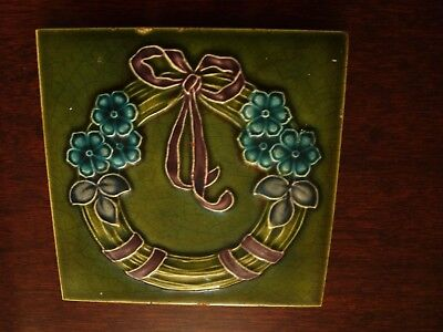 Art Nouveau Relief Moulded & Tubelined Majolica Flower Tile  19/54