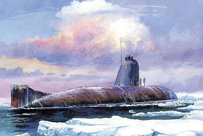Attack AIP Submarine in Winter Landscape Military War Arctic Ocean Boat Painting