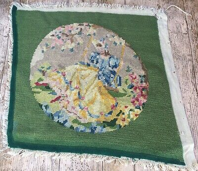 Vtg Completed Needlepoint Tapestry Crinoline Lady On Swing