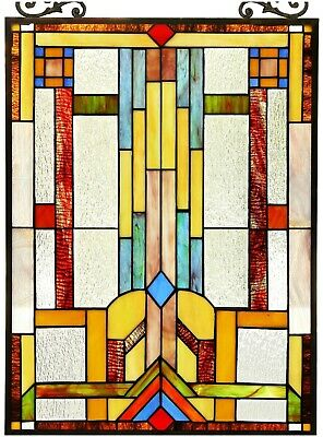 """25"""" x 17.5"""" Mission Lines Tiffany Style Stained Glass Window Panel"""