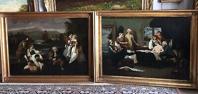 18th Century Pair Of Oil Paintings On Canvas Unsigned Gilt Frames