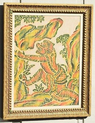 Vintage Thai Cambodian Temple Green Rubbing Buddhist Angkor Wat Rice Paper Retro