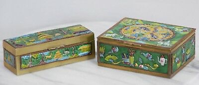 Pair Fine Antique Chinese Gilt Bronze Famille Rose Verte Hand Enameled Ink Boxes