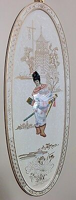 Chinese White Lacquer Hand Painted Mother Of Pearl Inlay Female Warrior Panel