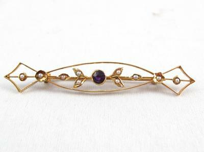 Antique Victorian Art Nouveau 14K Gold Seed Pearls & Amethyst Brooch Pin