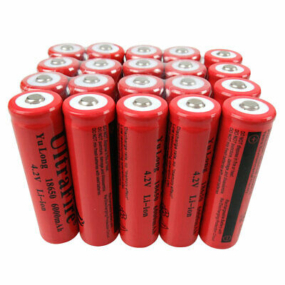 20PCS 18650 Li-Ion Battery 6000mAh 3.7V Rechargeable for LED Flashlight Doorbell