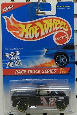 56 1956 Chevy Flashsider Pickup Nascar Black 382 Race Truck Series Hw Hot Wheels