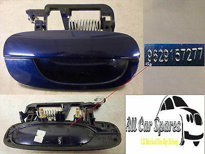 Peugeot 607 Door Handle Exterior Driver Side Rear 99-08 Blue EGED