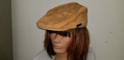 LETHMIK Flat Cap Cabby Hat ~ Brown Suede Leather ~ Newsboy Cap IVY~ M