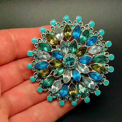 VINTAGE JEWELLERY Gorgeous LARGE Silver Tone Blue Green Glass FLOWER BROOCH Pin