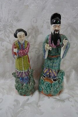 """Pair Antique Chinese Famille Rose Porcelain Figurines Signed Marked """"魏洪泰造"""""""