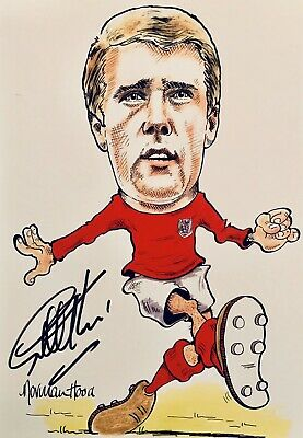 Sir Geoff Hurst HAND SIGNED England 1966 Legend Caricature Photograph *In Person