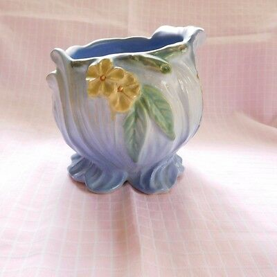 Vintage Weller Flower Planter/Pot/Jardiniere In Light Blue With Yellow Daisy