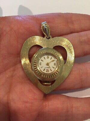 Nice Vintage Caravelle Gold Tone Heart Shaped Pendant Watch-Not Running