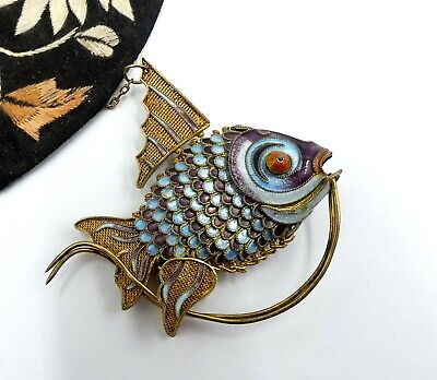 Antique Chinese sterling sliver filigree enamel articulated multi color fish pen