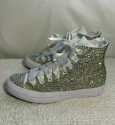 059cee94ec12 WEDDING CONVERSE BLINGED Out and Personalized Bridal Sneaker for the ...