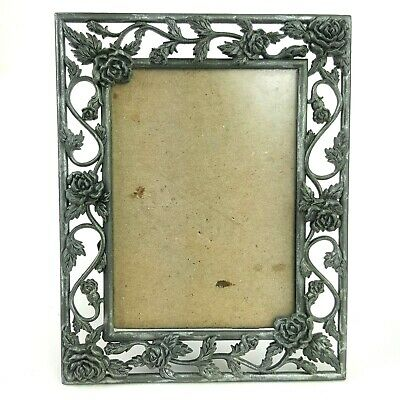 "Old Timey Roses Design Metal Pewter Silver Picture Frame Holds 2.5""x3.5"" Photo"