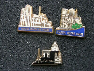 lot de 3 pin's NOTRE DAME DE PARIS , cathedrale