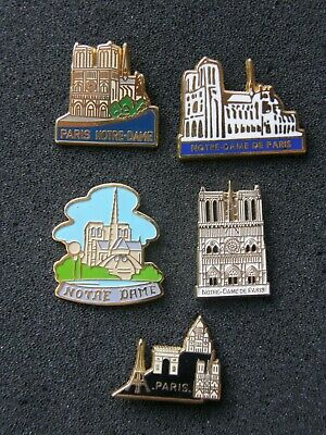 lot de 5 pin's NOTRE DAME DE PARIS , cathedrale