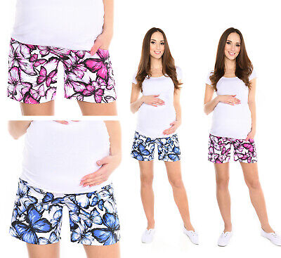 MijaCulture Maternity pregnancy shorts pants with butterflies 4116