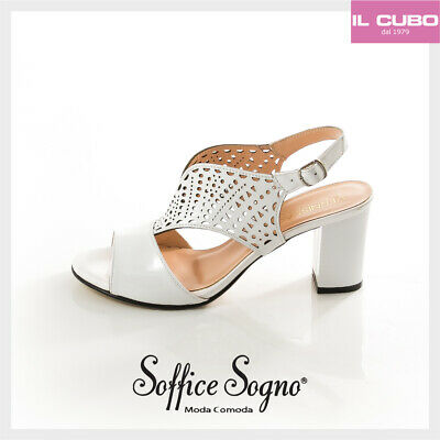 877245c5c1 SANDALO DONNA SOFFICE Sogno Vernice Colore Bianco Tacco H 7,5 Cm Made In  Italy