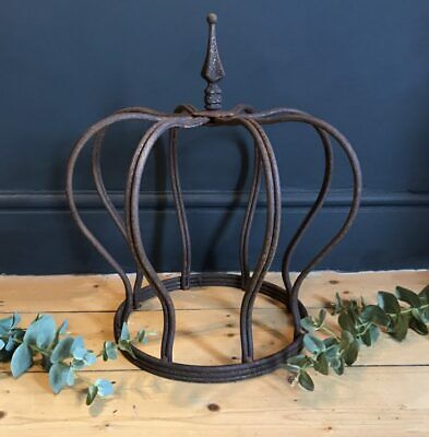 X Large Rusty Iron Crown Garden Metal Wire Ornament Decoration Planter Sculpture