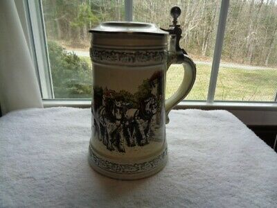 Vintage German Stein with Horse Drawn Beer Wagon on it and Pewter Lid