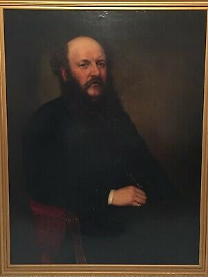 Fine Large 19th C Antique Oil Painting Portrait Of A Gentleman Seated Gilt Frame