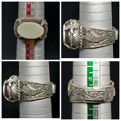 Excellent Craved Solid Silver Old Saljuq Periodi White Agte Uniqe Ring