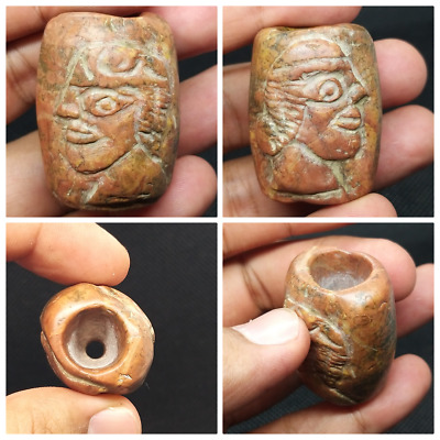 Beautifull Unseen Old Jasper Stone Bactrain King Double Side Craved Bead
