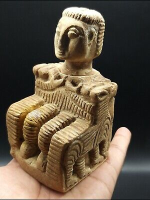 Very Old Wonderfull Bactrain Composite Stone Stead Male Figure Idol With Statue