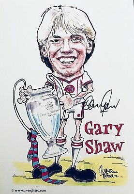 Gary Shaw SIGNED Aston Villa 1982 Euro Final Caricature Photo *Private Signing*