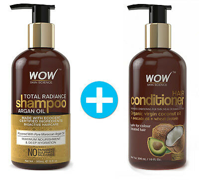 WOW Argan Oil Shampoo + Conditioner - For Hair Growth Treatment - Moroccan Oil