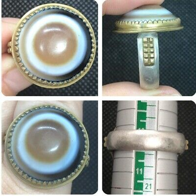 Very Antique Eye Agte Stone for Broken Magic Very Uniqe Solid Siver Ring
