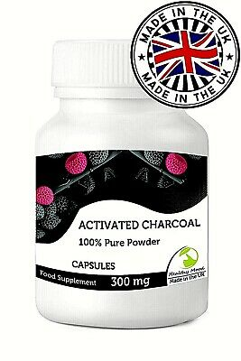 Activated Charcoal 300mg Powder 90 Capsules British Quality