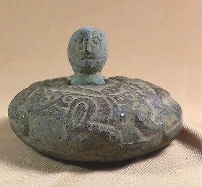 Antique Wonderful Bactrian Bronze Idol With Head