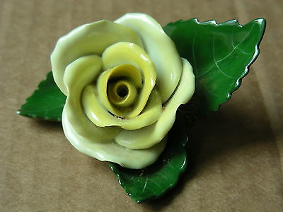 Herend-Hungary Hand Painted Porcelain Yellow Rose On Leaf Figurine