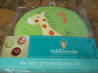 "Tiddliwinks--abc 123-Three piece velour wall art---each 9"" x 9""---New w/tags"